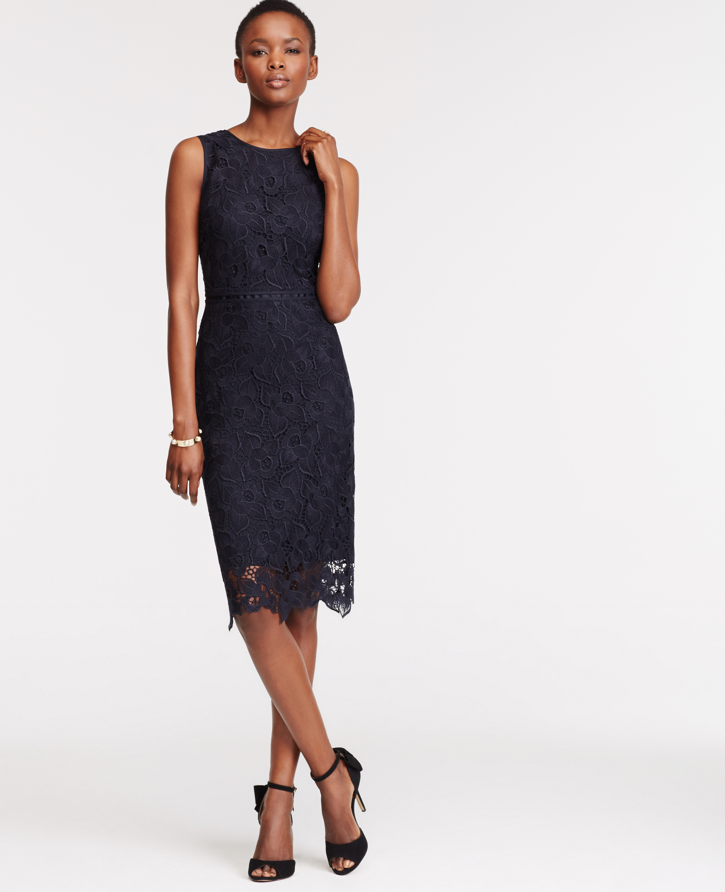 Lyst - Ann Taylor Petite Floral Lace Sheath Dress in Blue