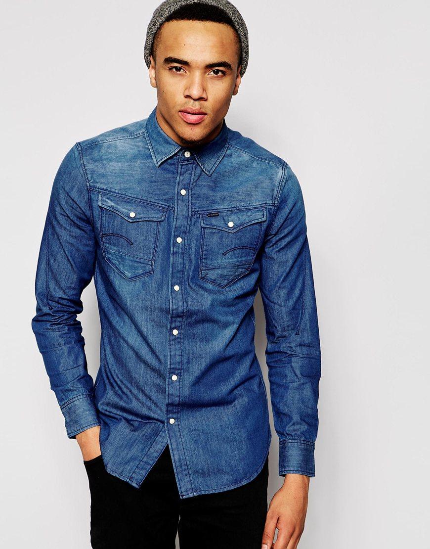 g star raw denim shirt arc 3d medium aged in blue for men lyst. Black Bedroom Furniture Sets. Home Design Ideas