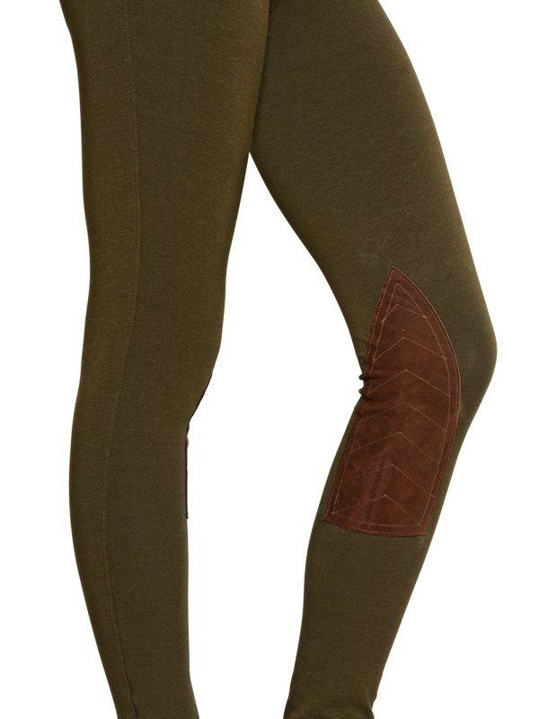4d381e97af6f7f Polo Ralph Lauren Jodhpur Cotton Jersey & Leather Leggings in Green ...