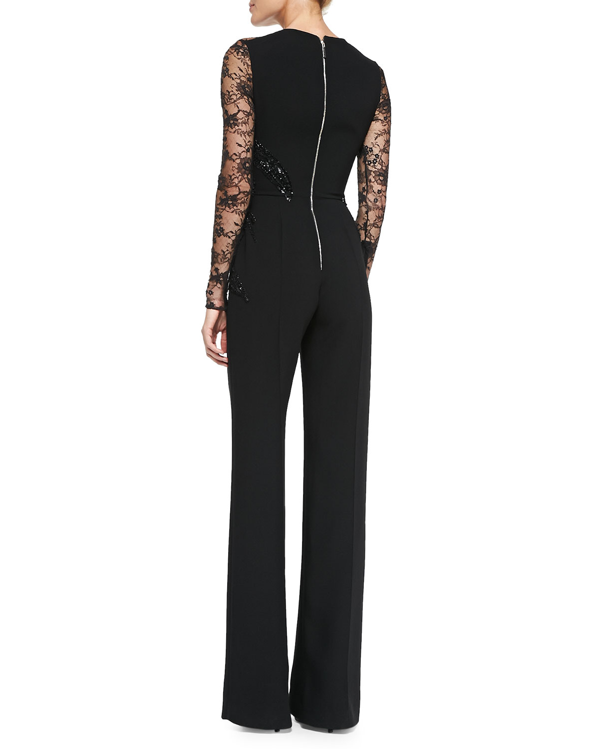 7d28d048575 Lyst - Elie Saab Long-sleeve Embroidered Lace Jumpsuit in Black