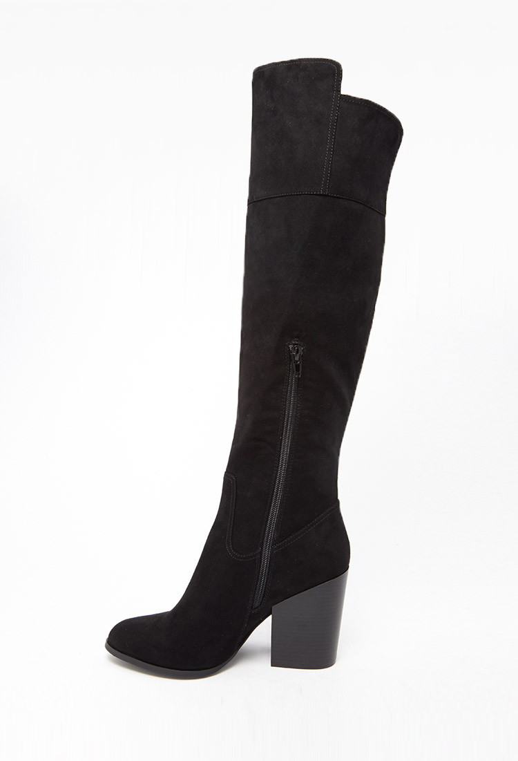 Forever 21 Faux Suede Knee High Boots In Black Lyst