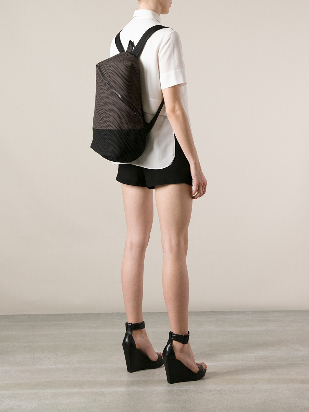 Lyst Pleats Please Issey Miyake Pleated Backpack In Gray