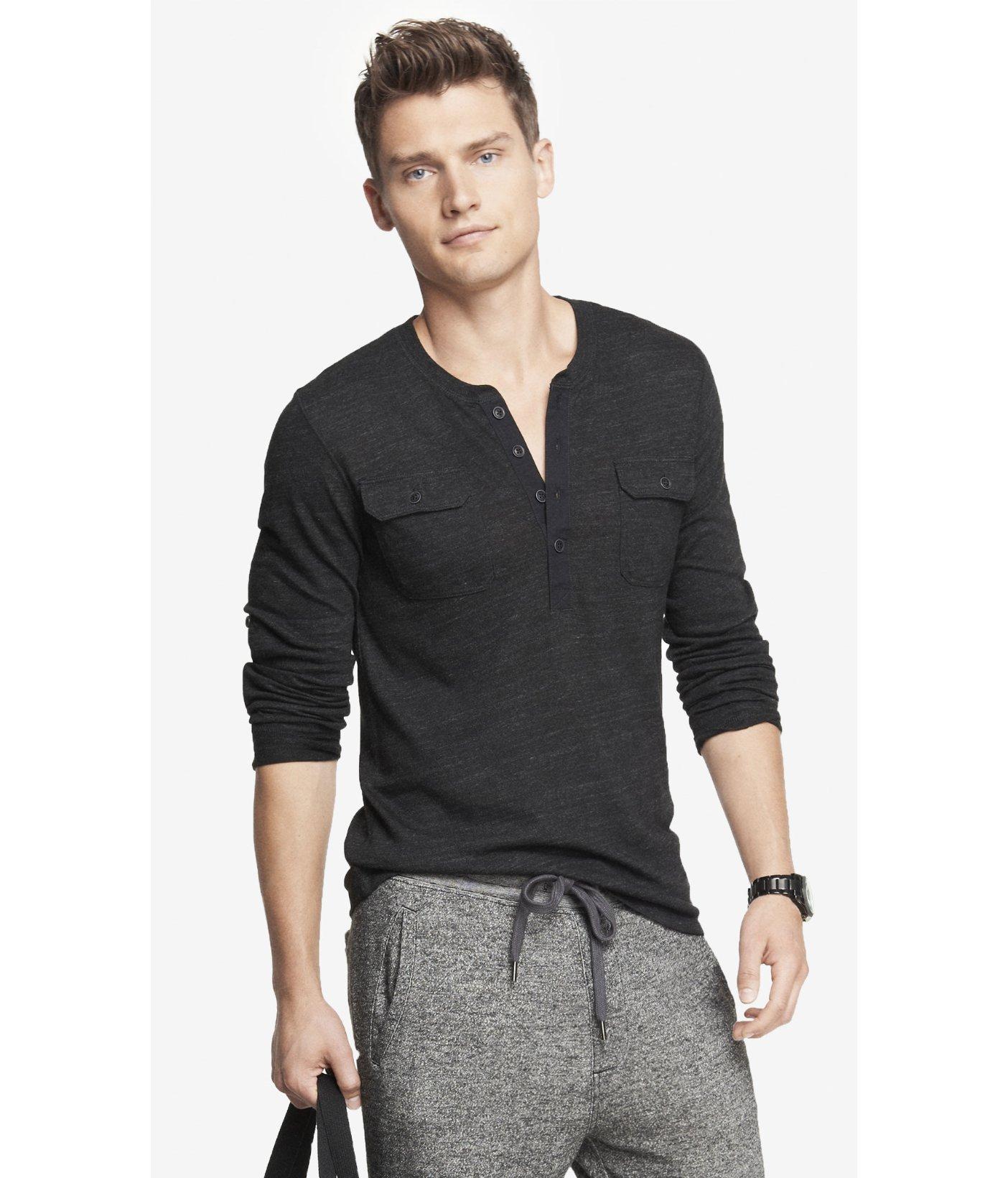 Lyst express long sleeve two pocket tri blend henley tee for Black long sleeve henley shirt