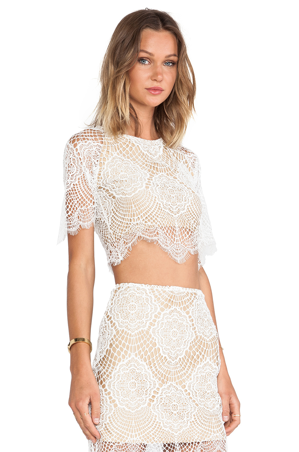 ce9c215d272ccc Lyst - For Love   Lemons Grace Crop Top in White
