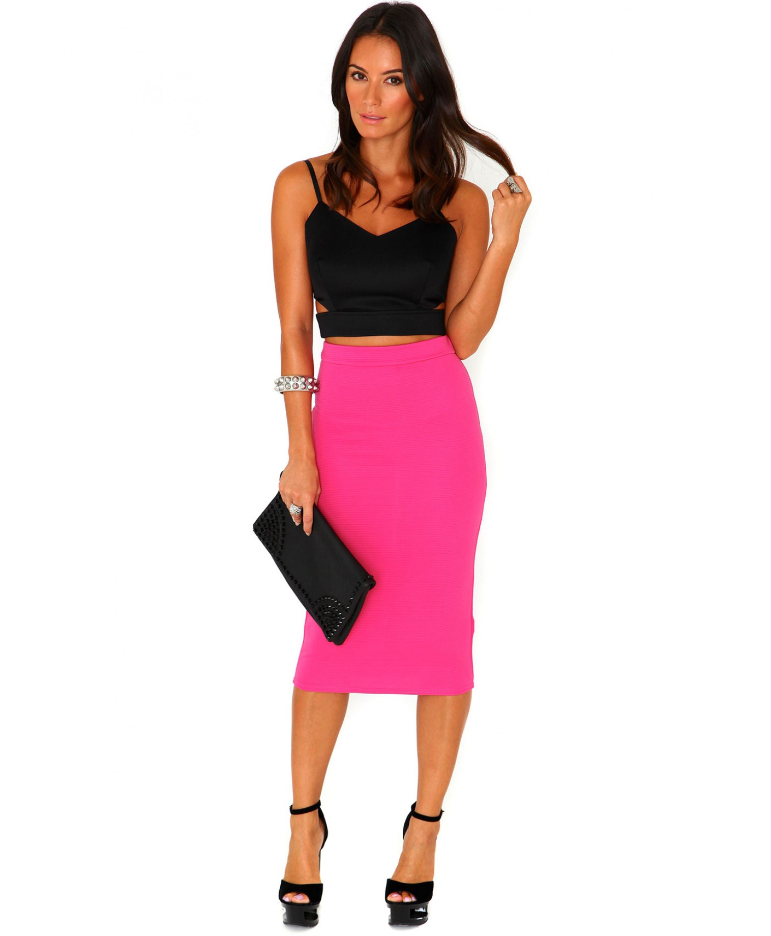 Missguided Jeania Ribbed Bodycon Midi Skirt In Hot Pink in Pink | Lyst