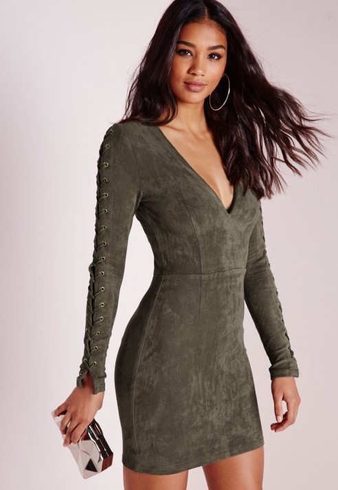 123f4e6cef89 Lyst - Missguided Faux Suede Lace Up Detail Bodycon Dress Khaki in ...