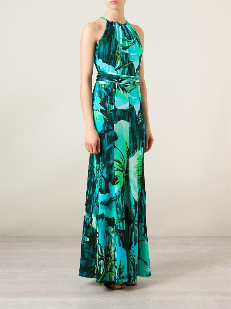 Matthew Williamson Floral Print Maxi Dress In Green Lyst
