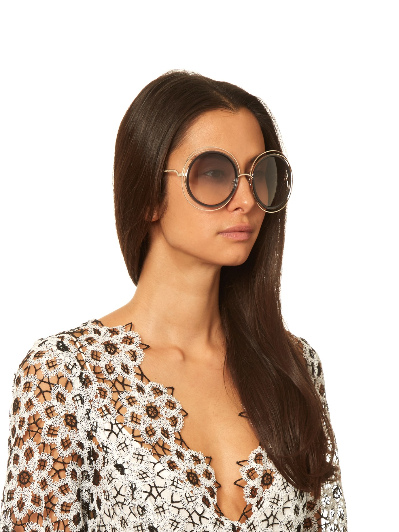 Chloe Carlina Sunglasses  chloé carlina round framed sunglasses in metallic lyst