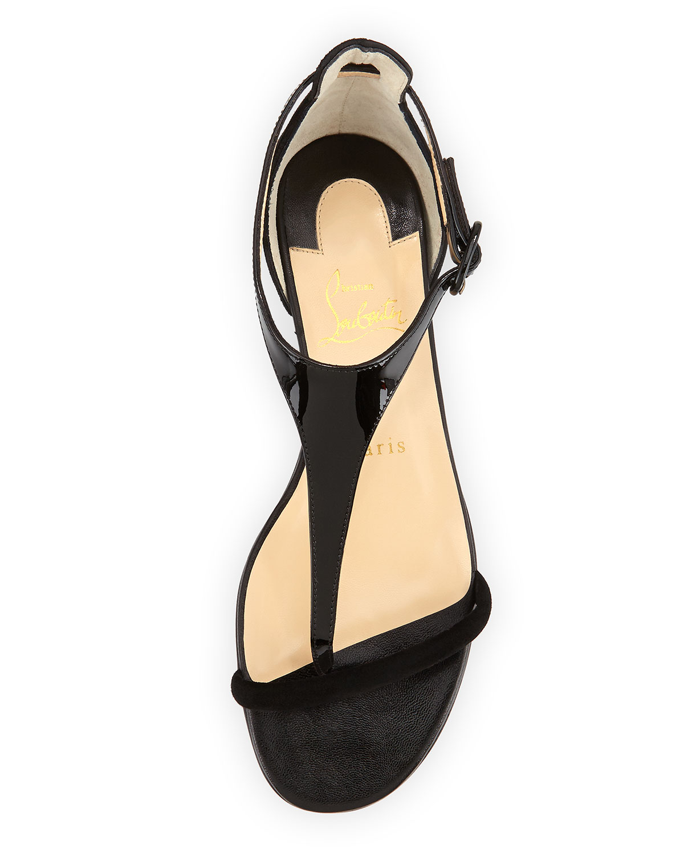 70194bc3b05 ... ebay lyst christian louboutin athena patent suede flat sandal black in  afe92 a51b9