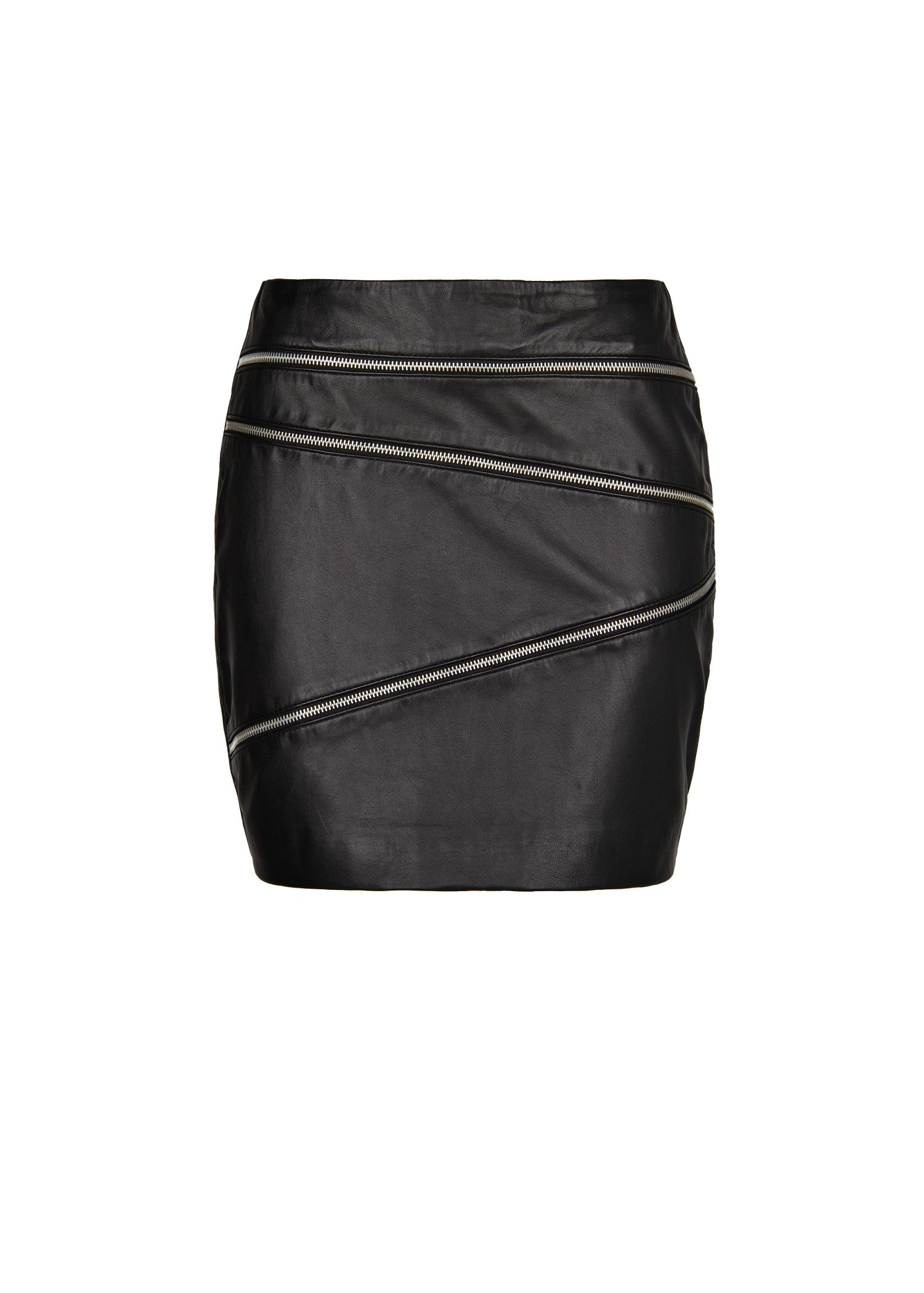 Mango Zip Leather Skirt in Black | Lyst