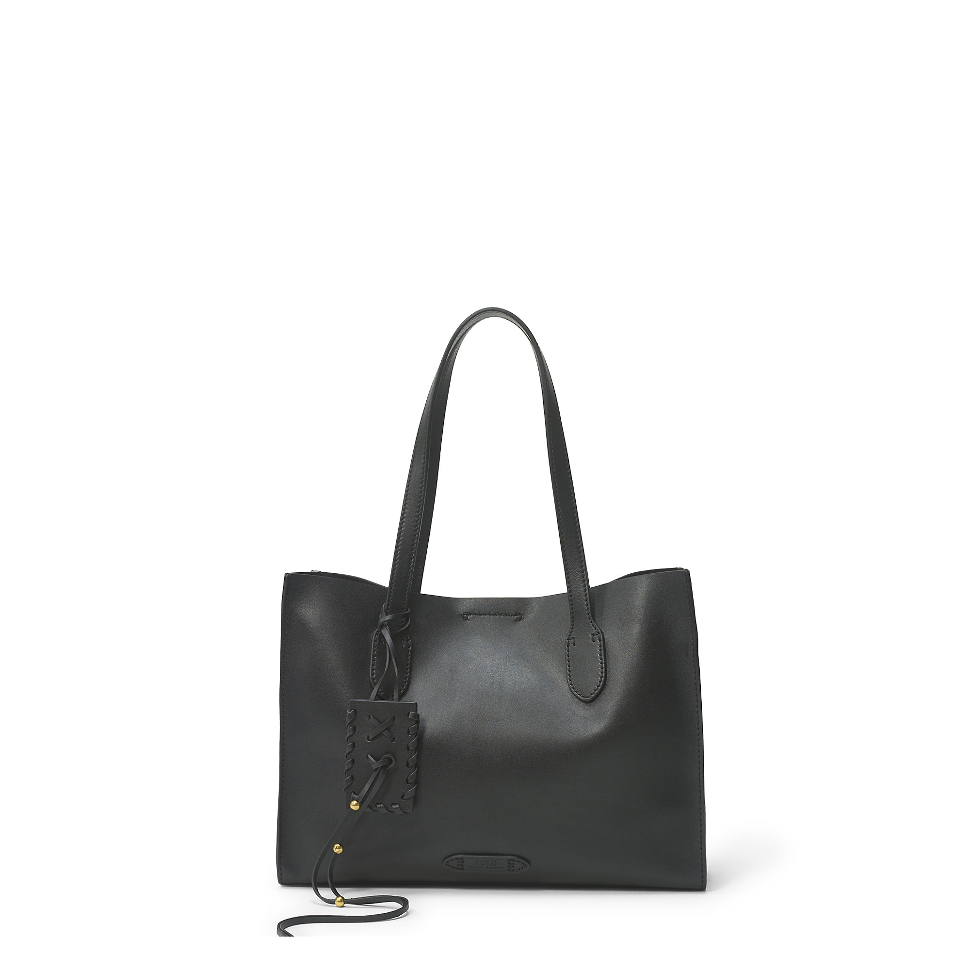 a3785649af Lyst - Polo Ralph Lauren Leather Tote in Black