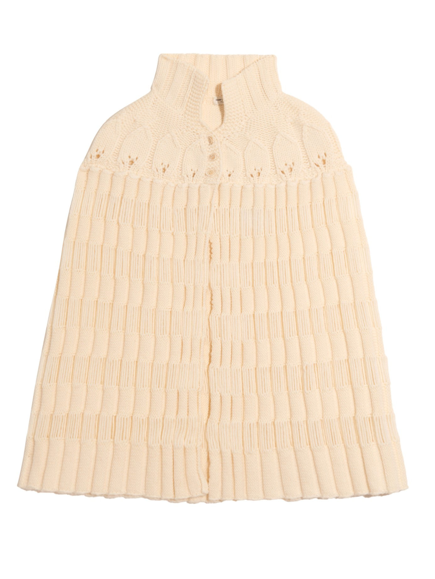 Wool Cape Knitting Pattern : Saint laurent Striped-knit Wool Cape in Natural Lyst