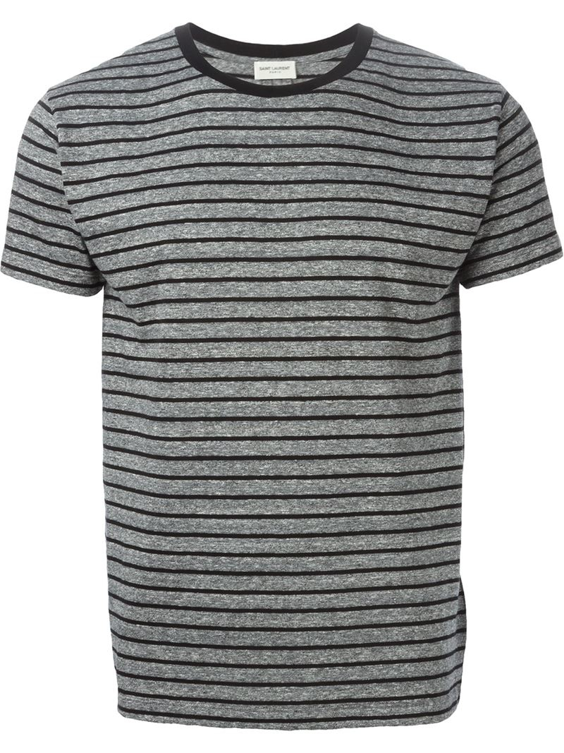 Saint laurent striped t shirt in gray for men lyst for Grey striped t shirt