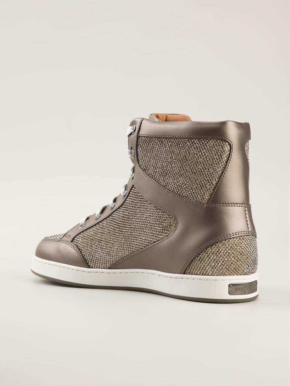 d2782b94320 ... italy lyst jimmy choo tokyo hi top sneakers in metallic 100bb 40120