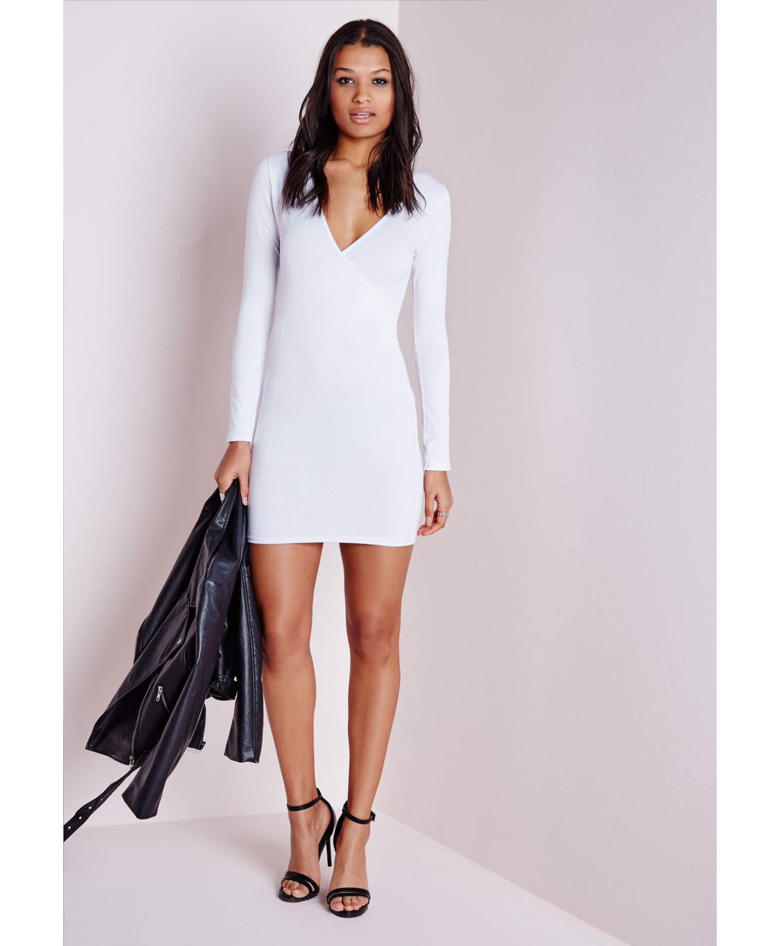 Missguided Long Sleeve Wrap Bodycon Dress White in White | Lyst