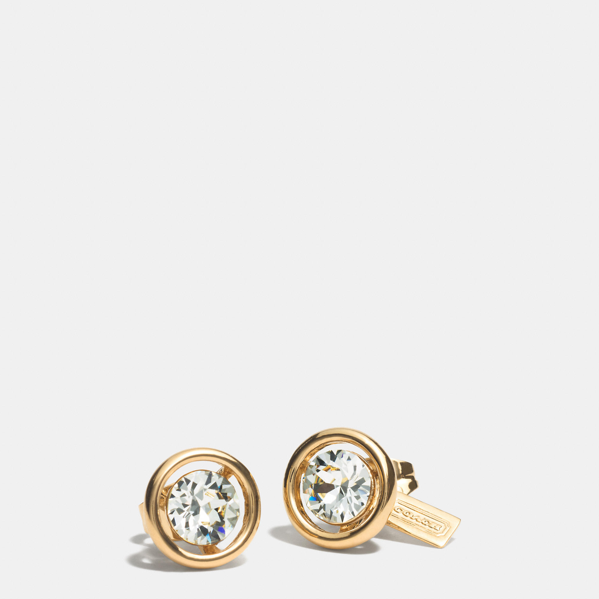 coach stud earrings coach halo stud earrings in metallic lyst 1302