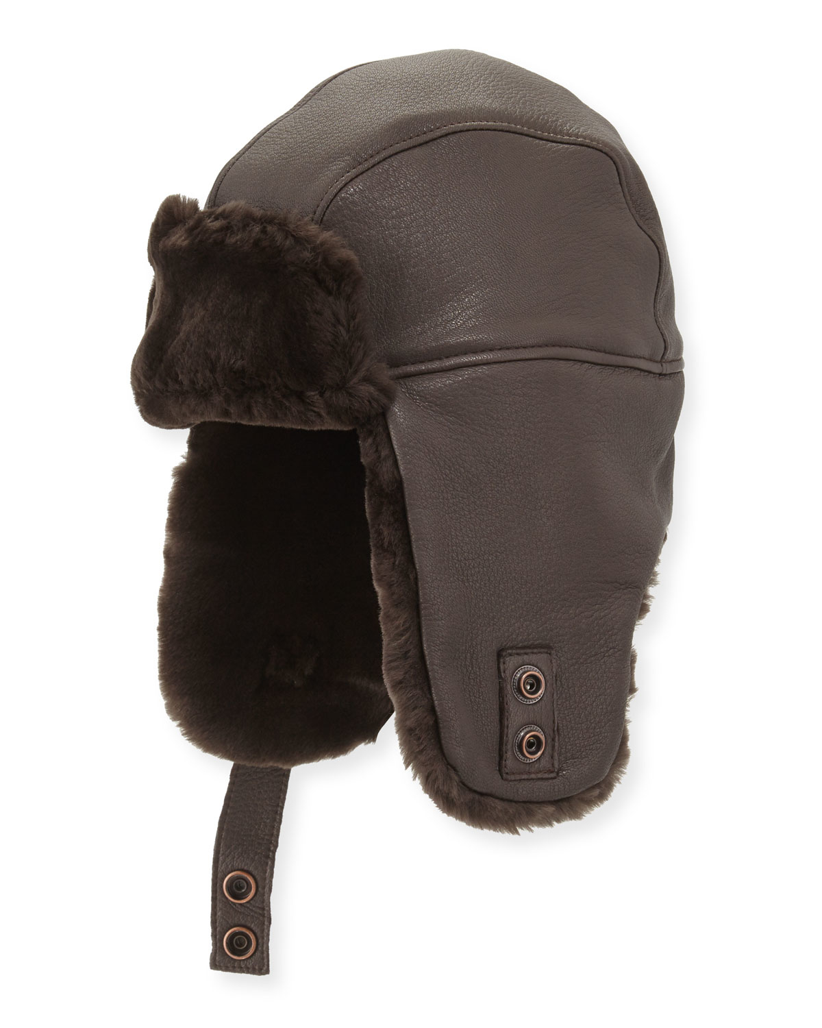 25c58c49a8b Lyst - UGG Corbett Leather Trapper Hat in Brown
