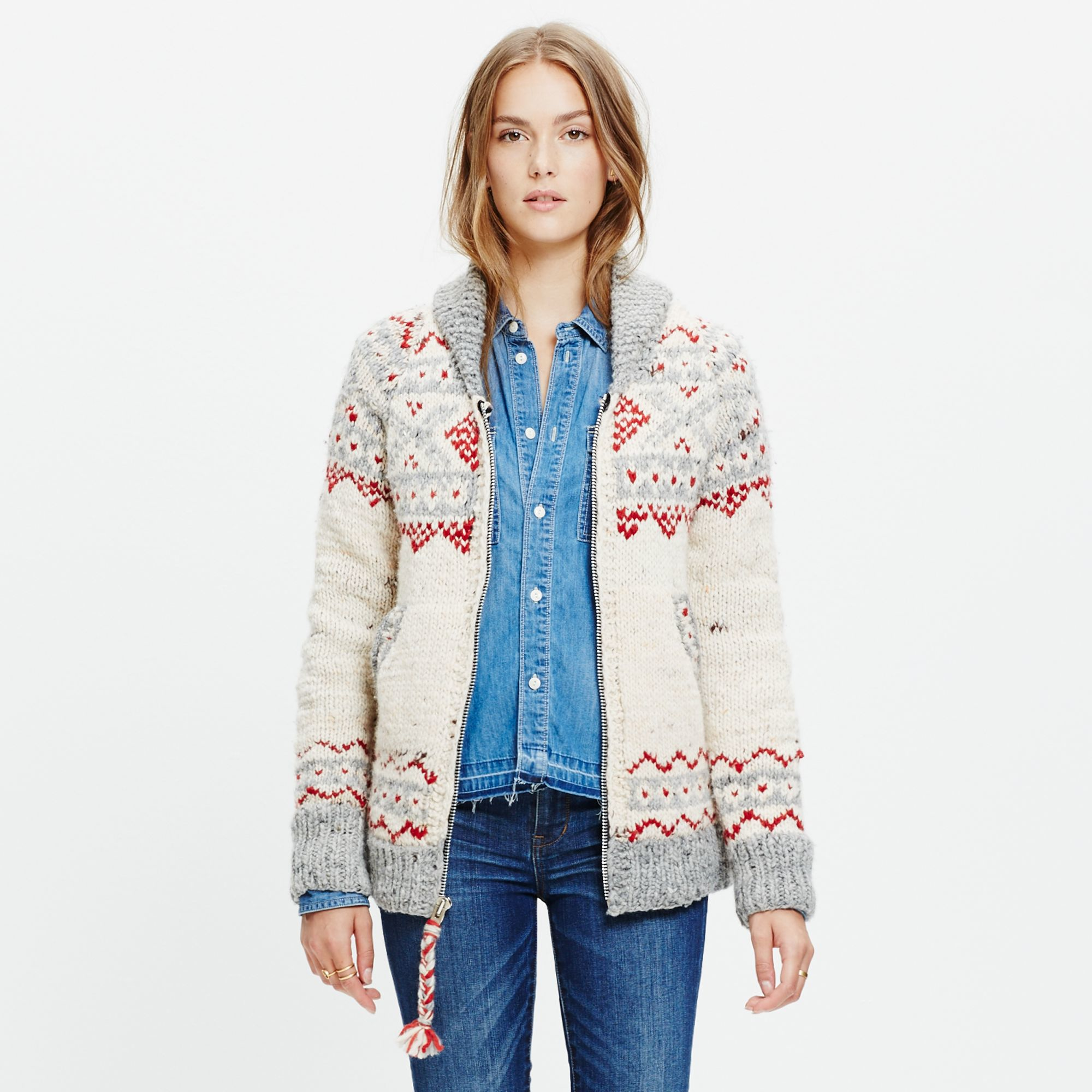 Madewell Chamula™ Fair Isle Cardigan Sweater in Natural | Lyst