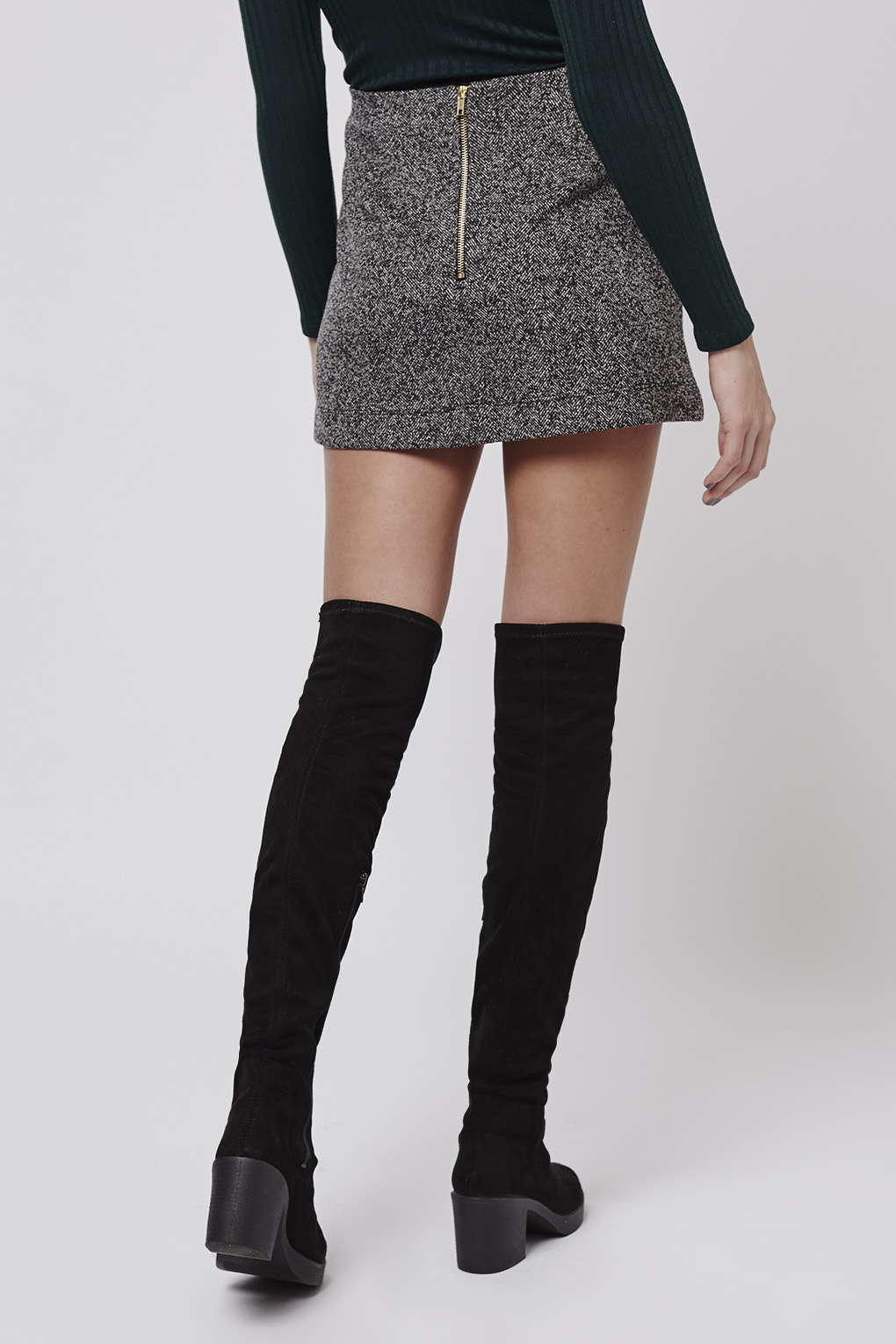 topshop herringbone jersey a line skirt in gray lyst