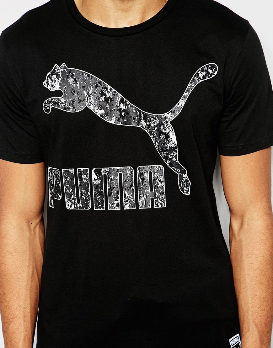 lyst puma tshirt with crackle logo in black for men