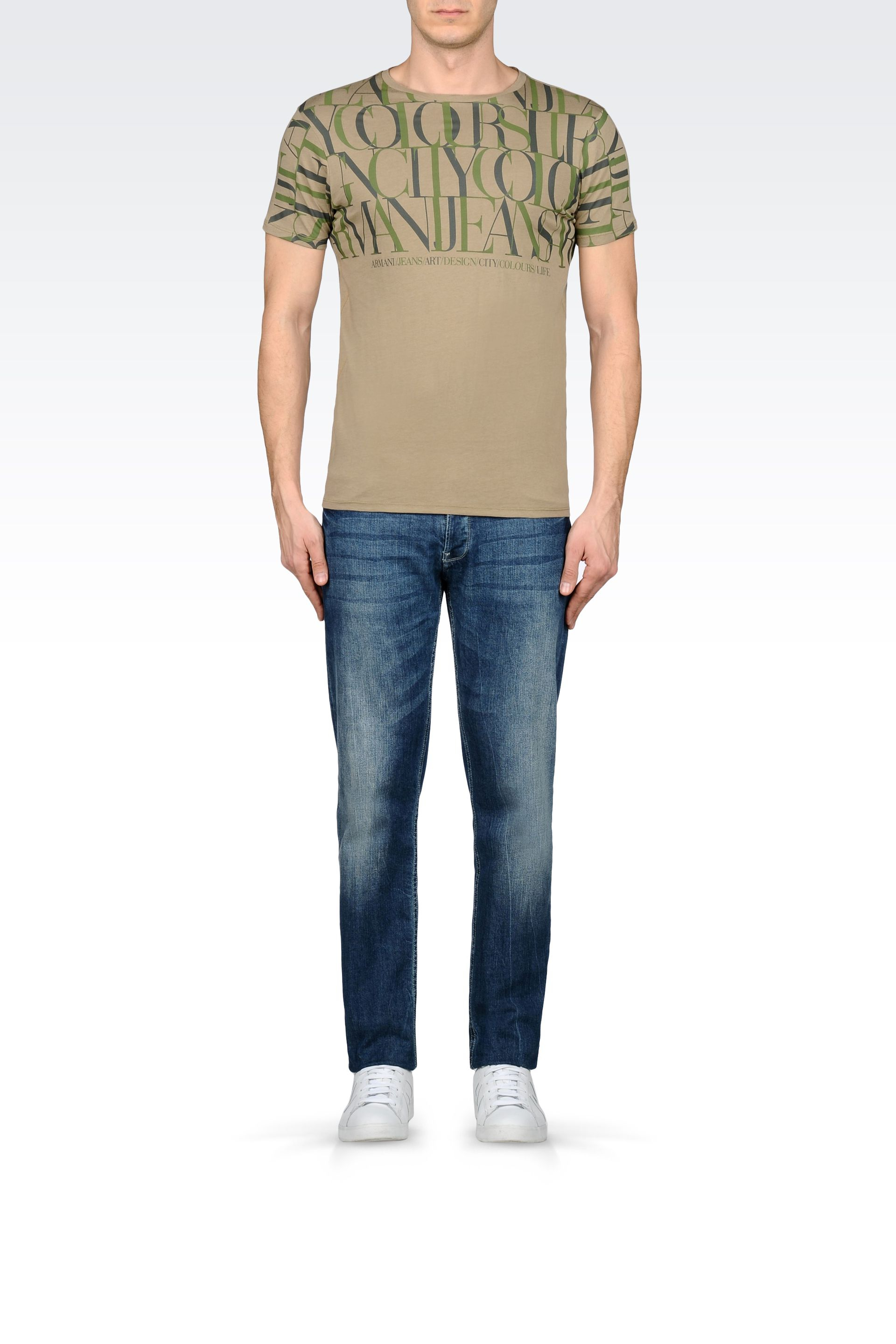 armani jeans t shirt in cotton jersey in khaki for men. Black Bedroom Furniture Sets. Home Design Ideas