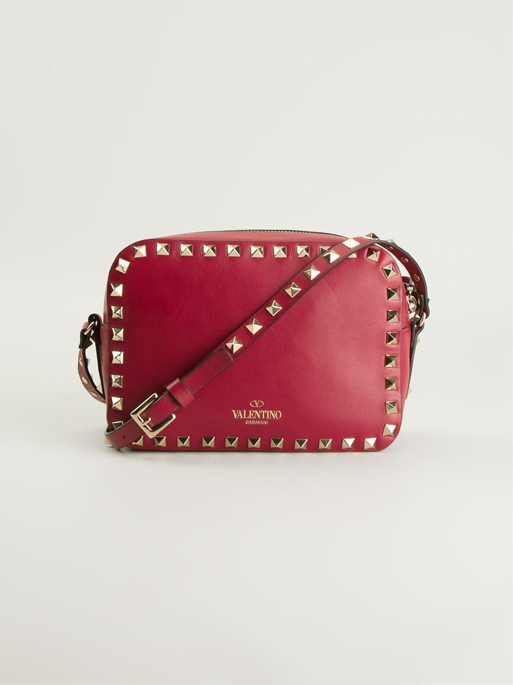 lyst valentino rockstud cross body bag in red. Black Bedroom Furniture Sets. Home Design Ideas