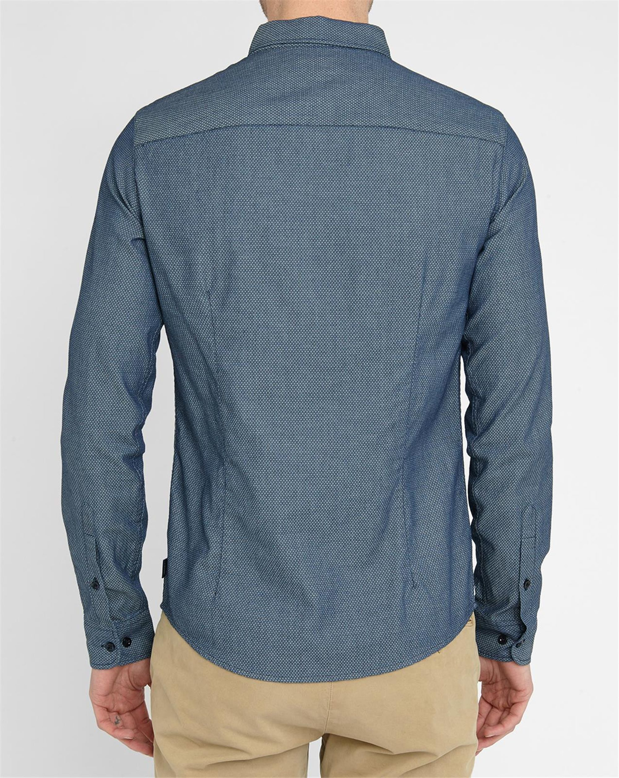 Armani jeans chambray micro pattern small collar shirt in for Small collar dress shirt