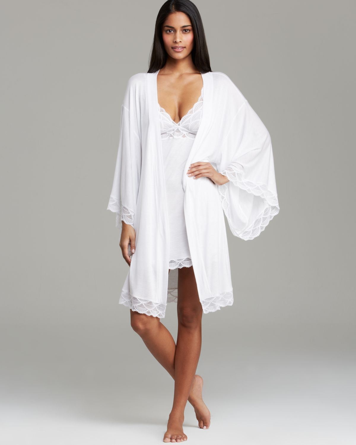 White And Gray Bathroom: Eberjey Matilda Kimono Robe In White