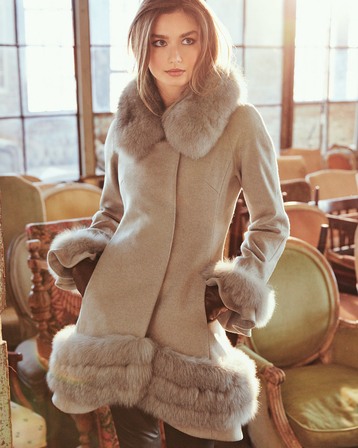 Belle fare Cashmere Swing Coat With Fur Cuffs & Trim in Natural | Lyst