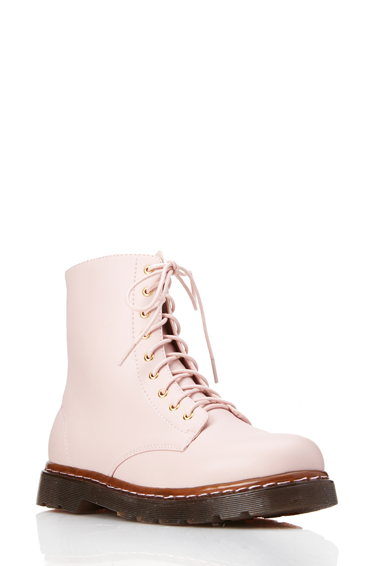 forever 21 sleek combat boots in pink lyst