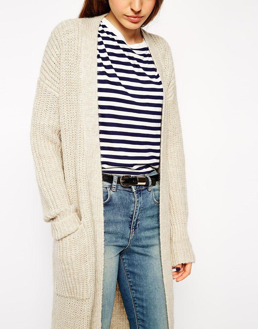 Asos Maxi Cardigan With Alpaca Wool in Natural   Lyst