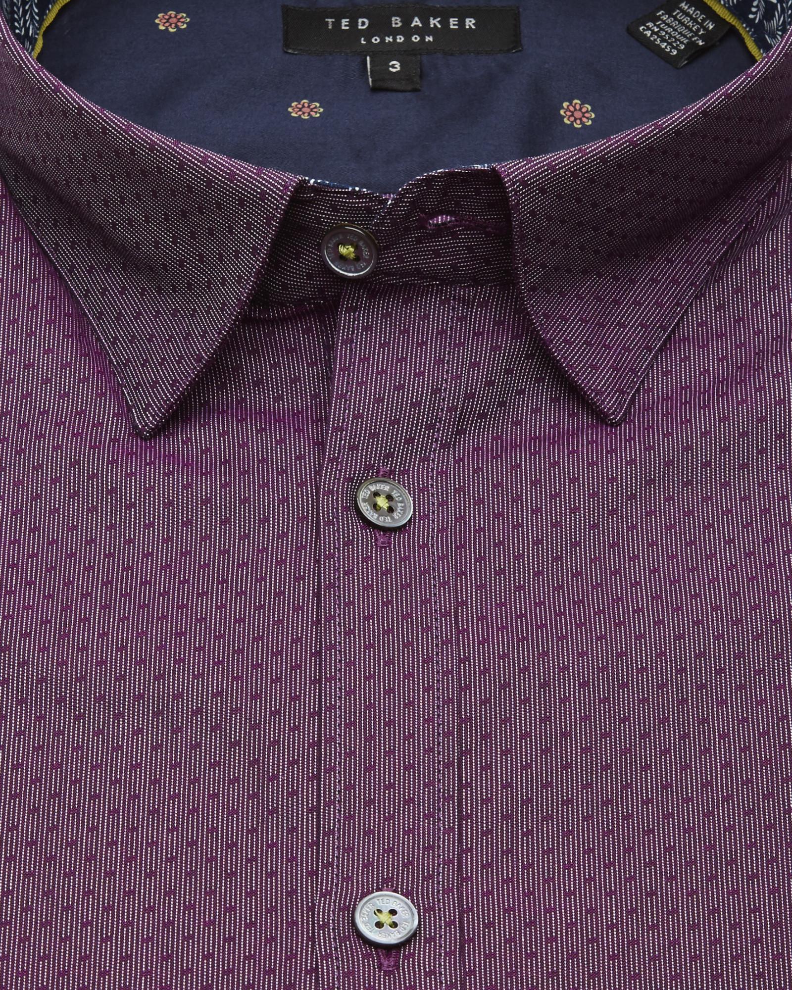 00a6cb327 Lyst - Ted Baker Pindot Dobby Shirt in Purple for Men