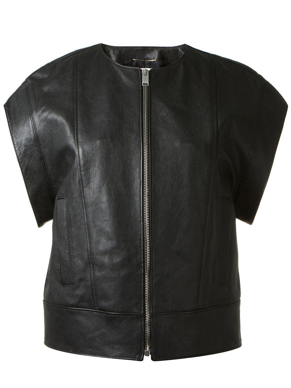 pennyblack_Lyst - Saint laurent Short Sleeve Leather Jacket in Black