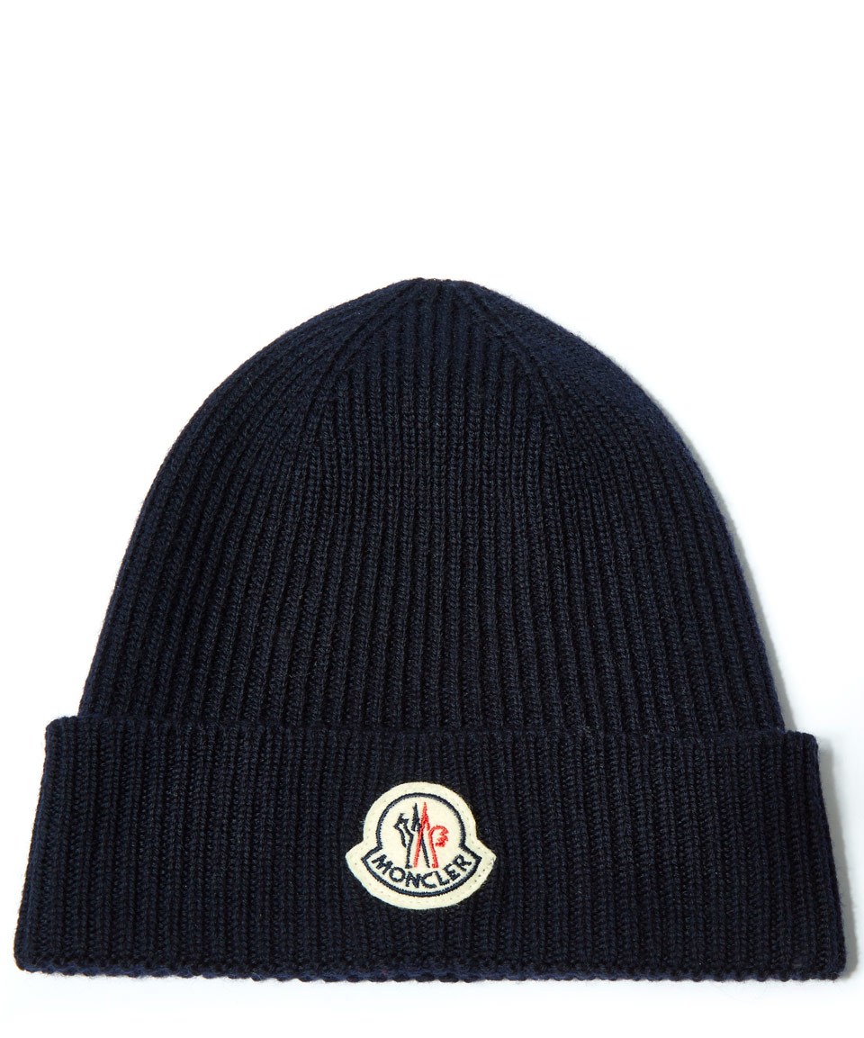 699b75bbaea Moncler Navy Ribbed-knit Wool Beanie Hat in Blue for Men - Lyst