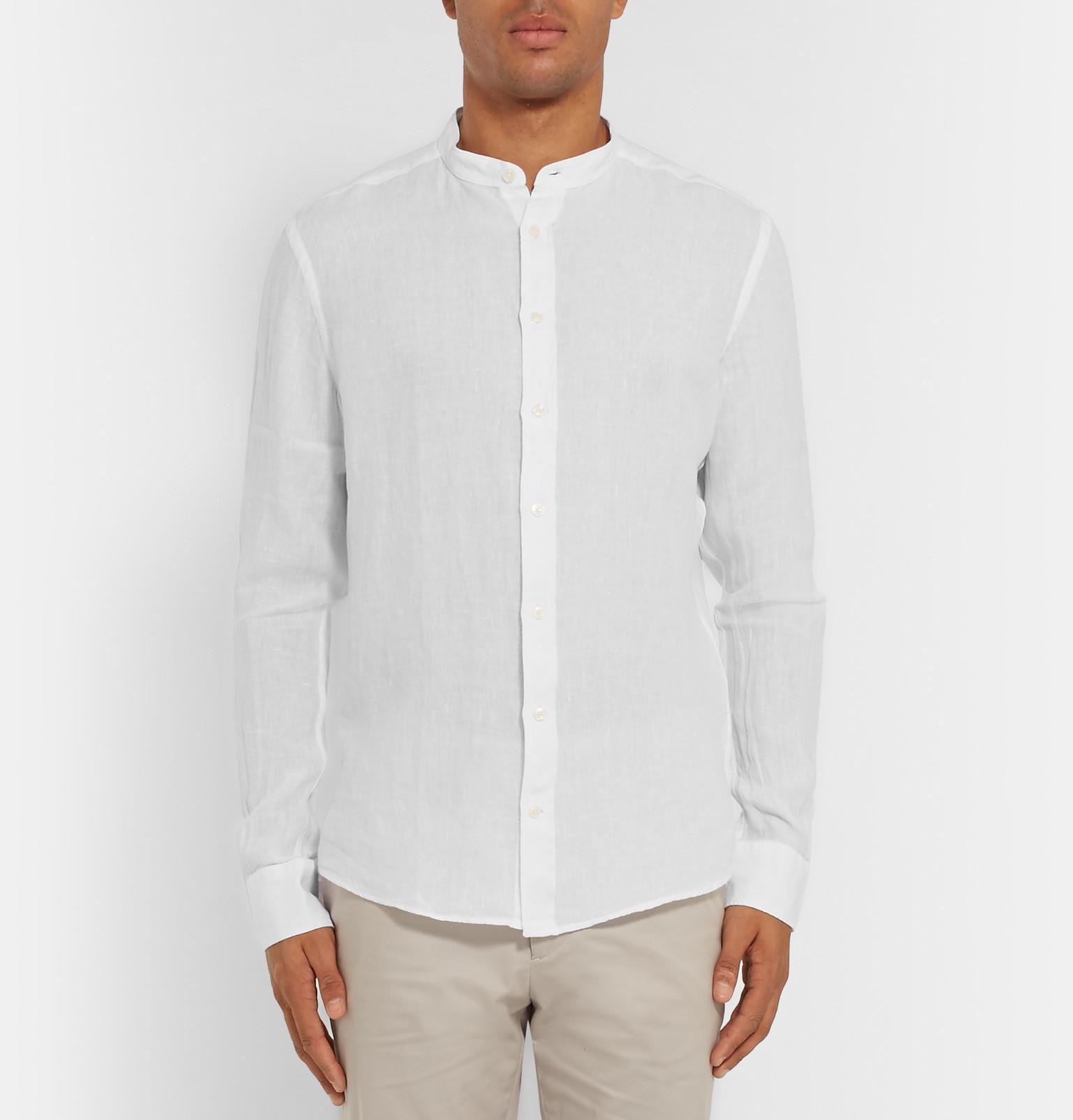 Lyst hackett slim fit grandad collar linen shirt in for Slim fit white linen shirt