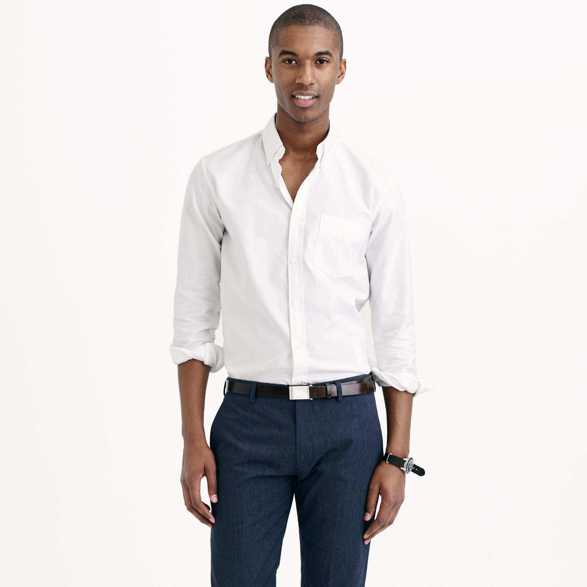 Slim thomas mason oxford cloth shirt in white for for Mason s men s shirts