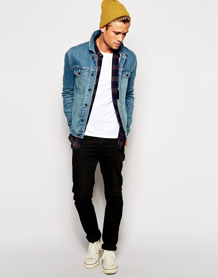 3ac2284b003 ASOS Denim Jacket In Skinny Fit in Blue for Men - Lyst
