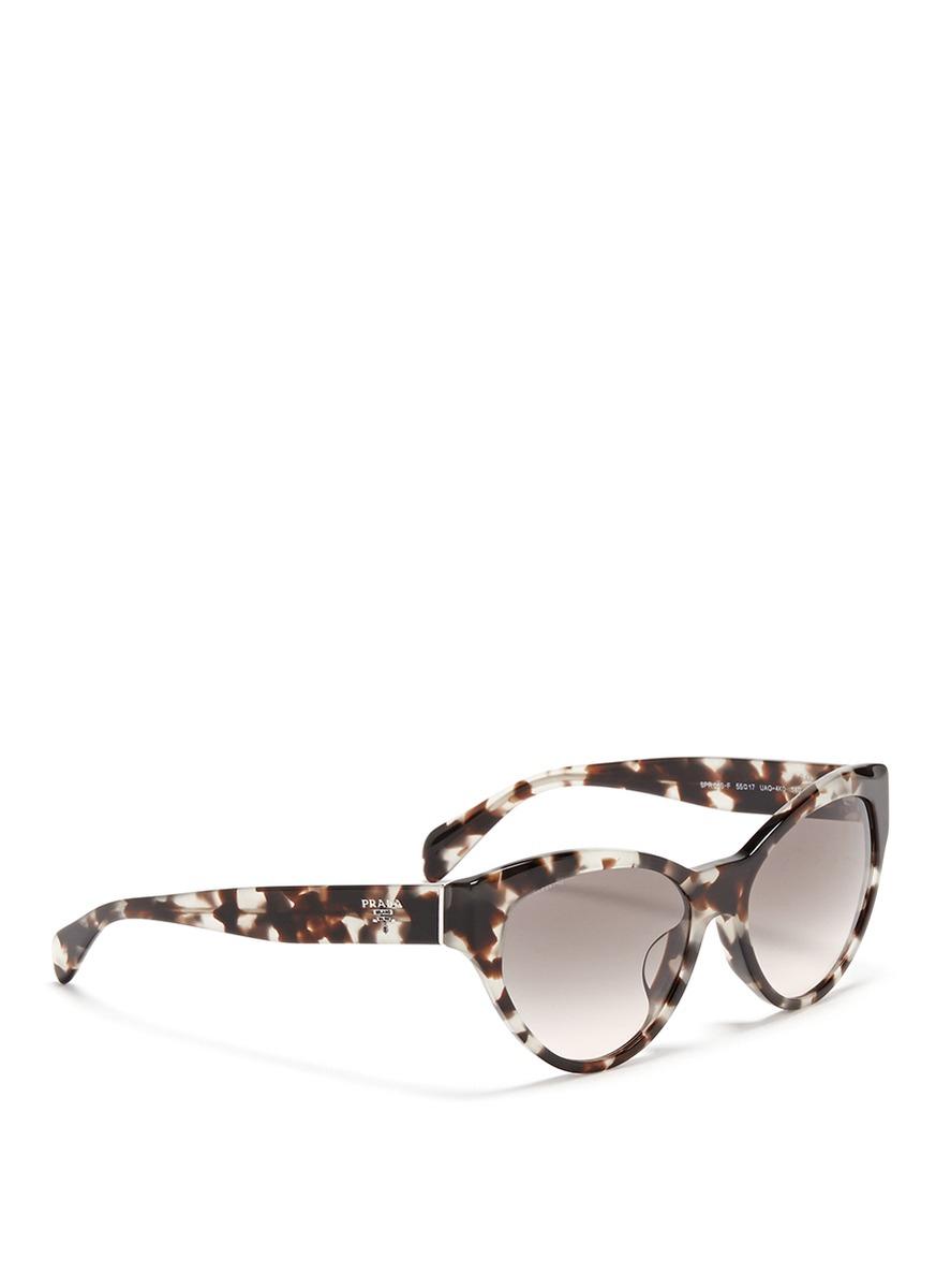 d0a87d62dfb Lyst - Prada Tortoiseshell Acetate Cat Eye Sunglasses in Brown
