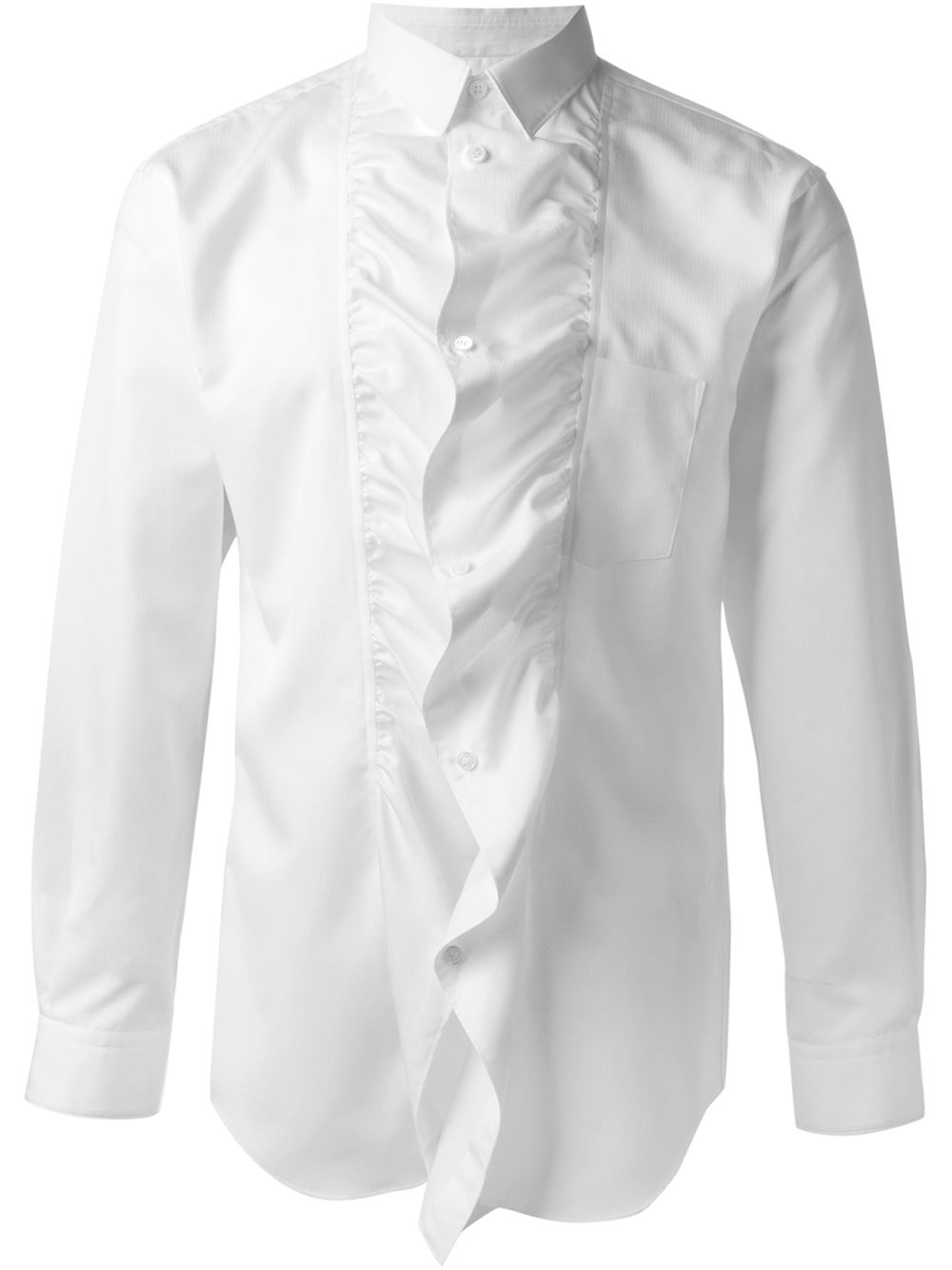 lyst comme des gar ons ruffled shirt in white for men. Black Bedroom Furniture Sets. Home Design Ideas