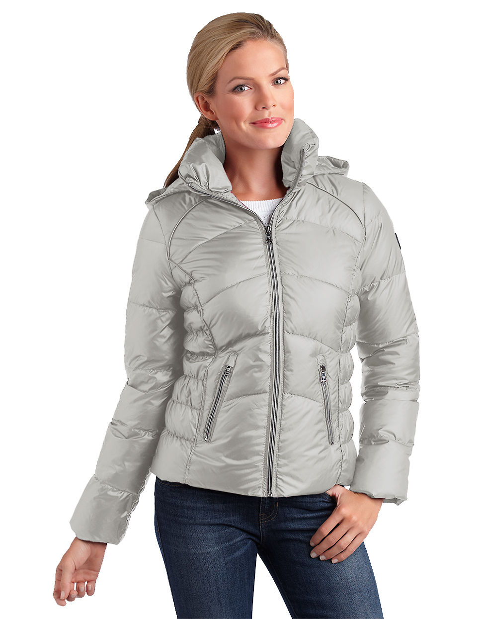 Guess Hooded Puffer Jacket In Gray Grey Lyst