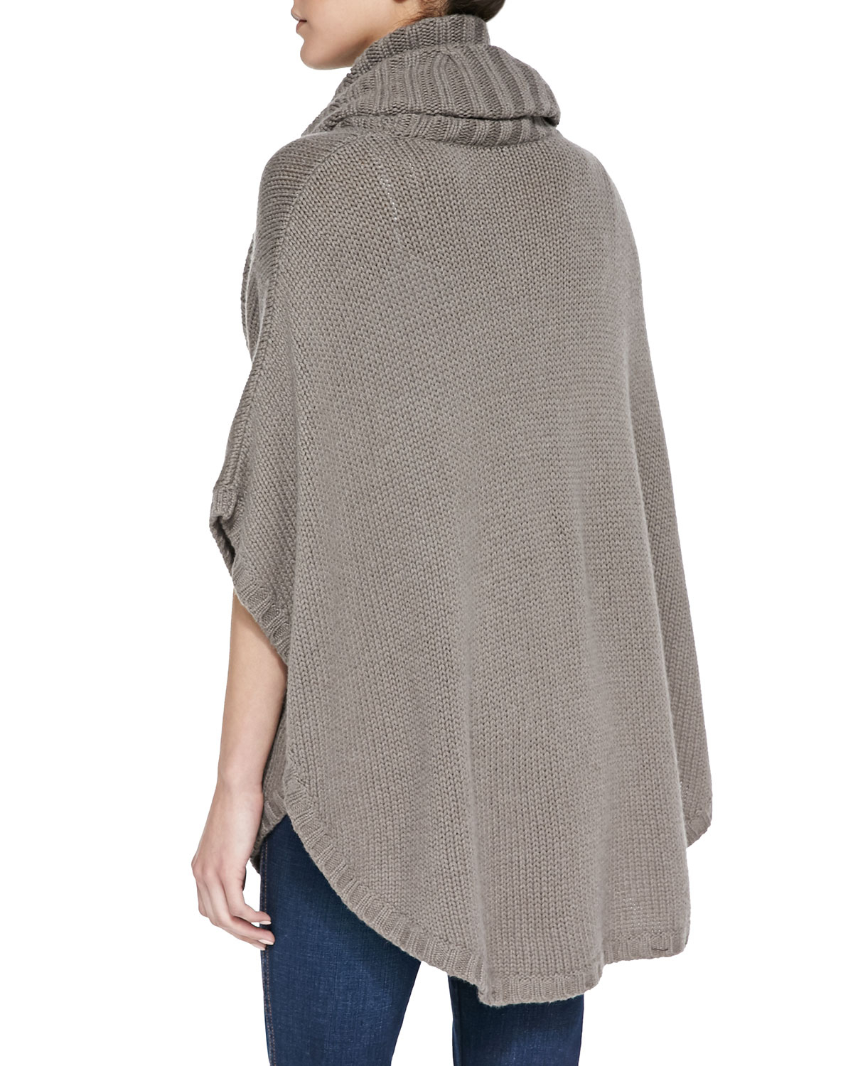 Knitting Pattern Cashmere Cowl : Autumn cashmere Cable-knit Cowl-neck Cashmere Poncho in Gray Lyst