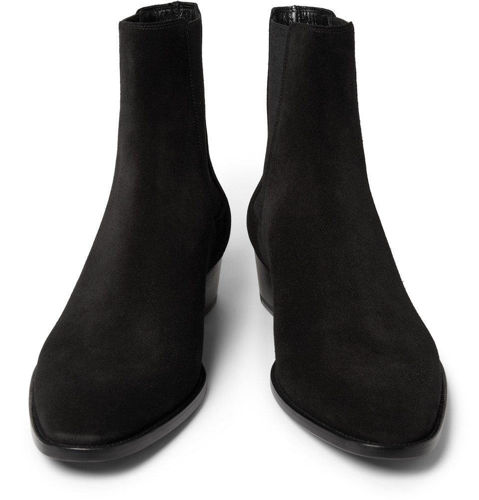 Saint Laurent Suede Chelsea Boots In Black For Men Lyst