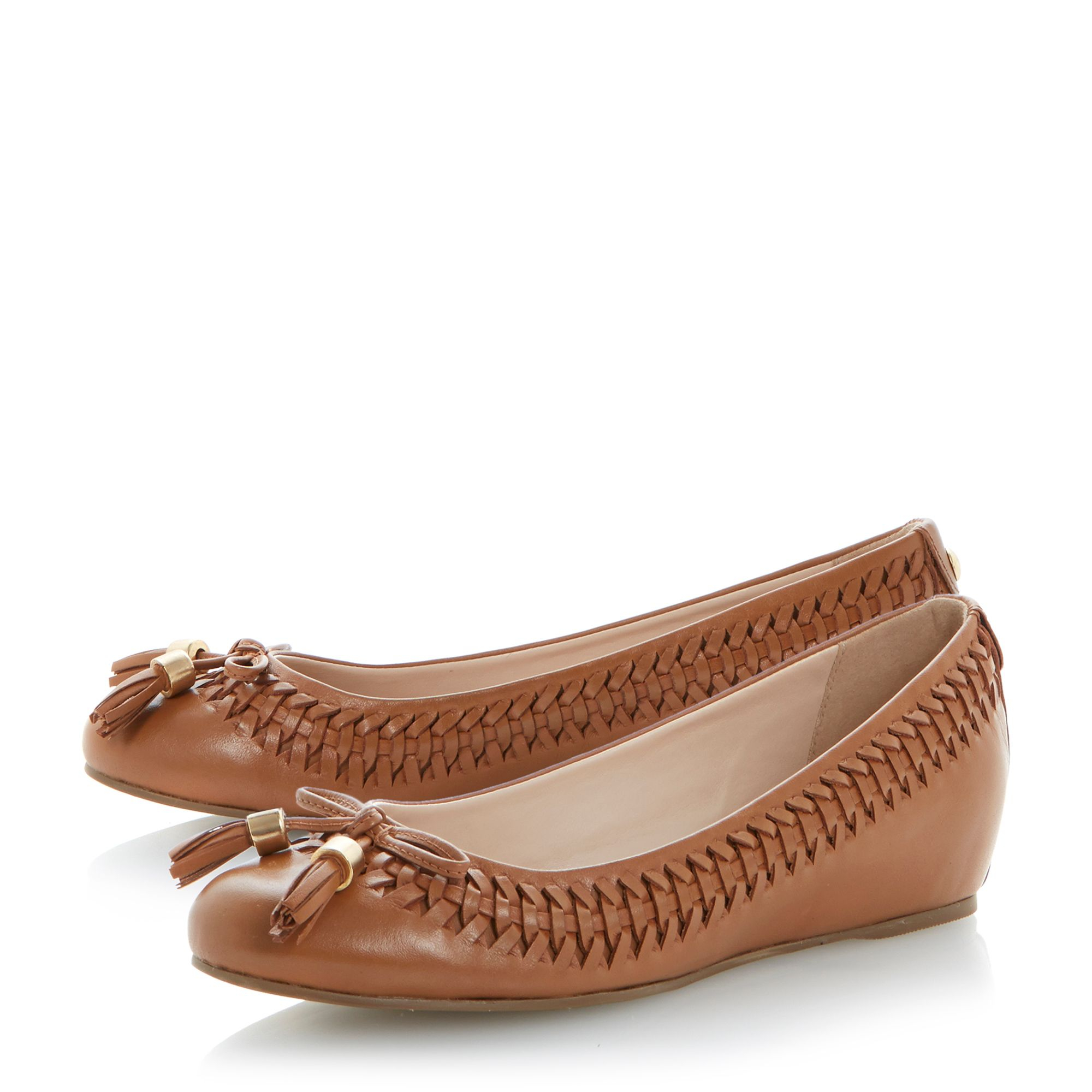 dune mirander leather almond toe wedge shoes in brown
