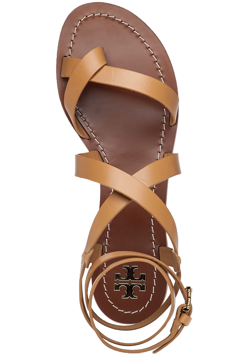 546b55436819c Lyst - Tory Burch Patos Blond Leather Sandals in Brown
