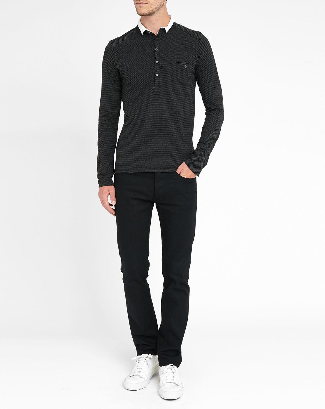 ikks black long sleeve pocket polo shirt with contrasting white collar in black for men lyst. Black Bedroom Furniture Sets. Home Design Ideas