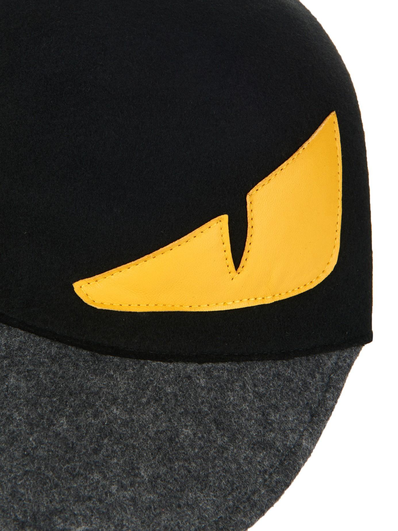 8f64f6883ff Lyst - Fendi Monster Eyes Wool-Felt Cap in Black for Men