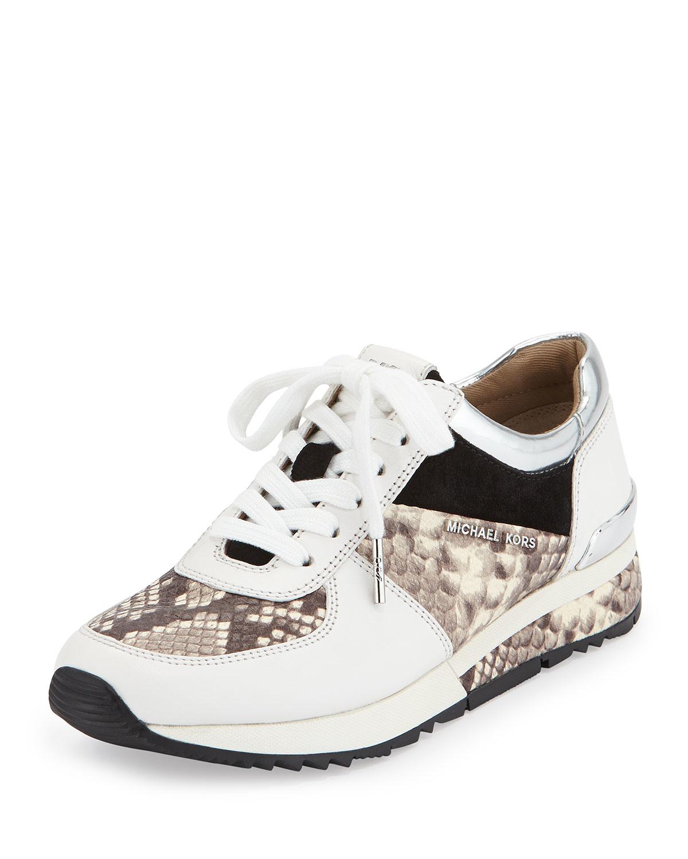 MICHAEL Michael Kors Allie Leather Floral Applique Trainer Sneakers vKDFT