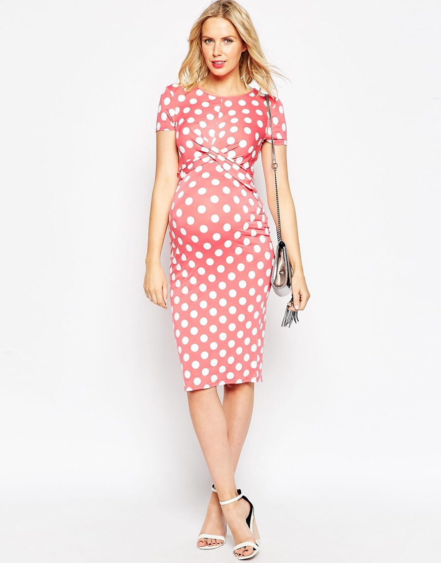 Lyst - Asos Maternity Bodycon Dress In Spot Print With Cross Front in Pink