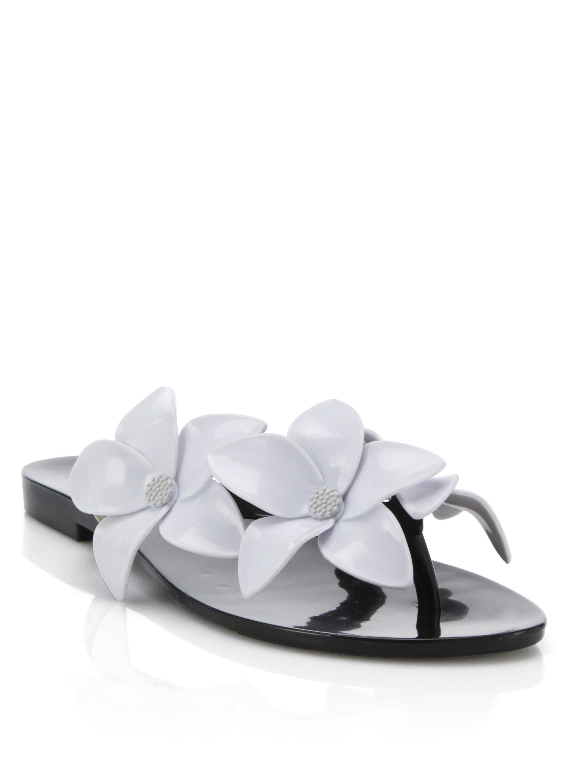 Lyst Melissa Harmonic Flower Pvc Flip Flops In Black