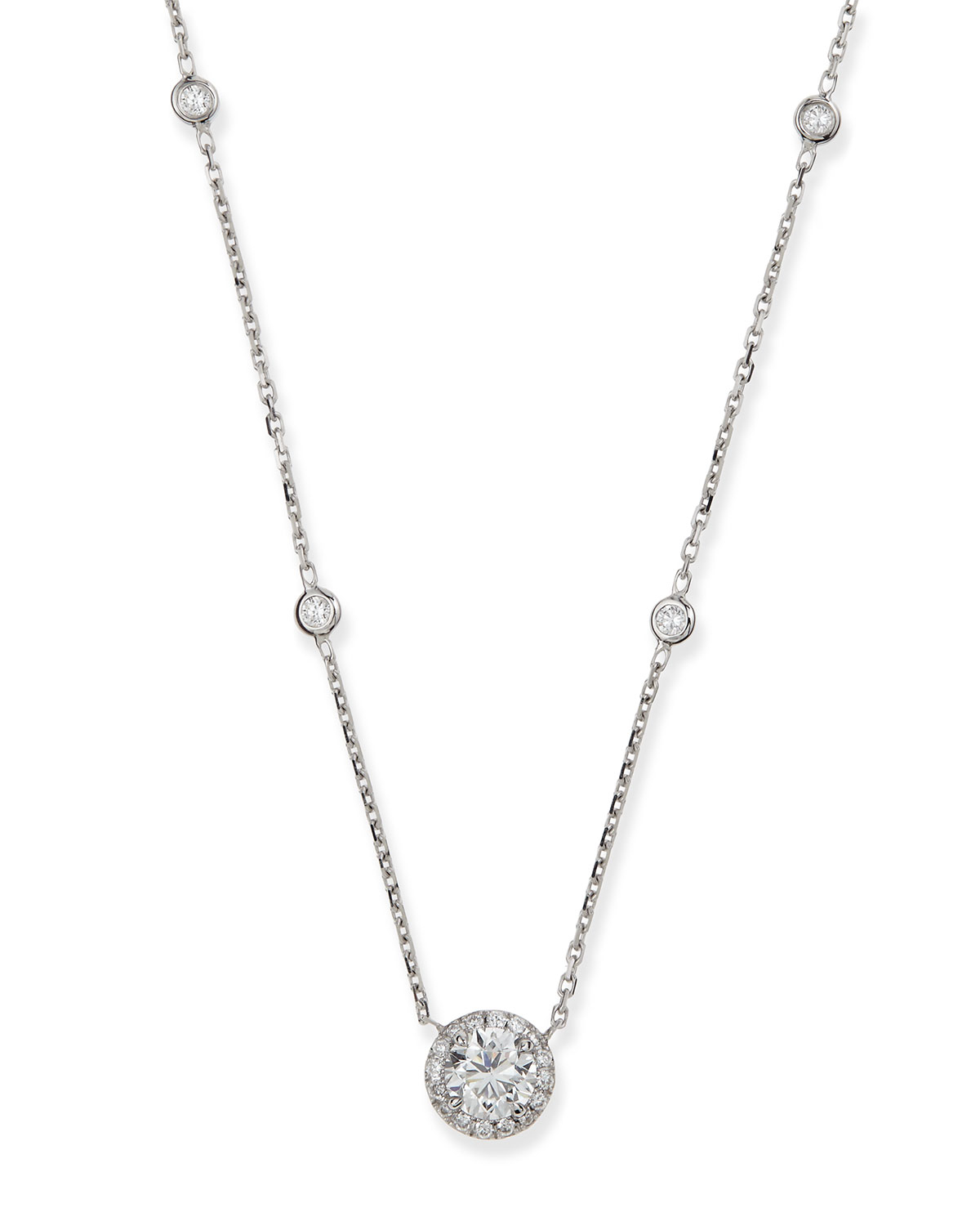 Messika Joy Round Diamond Pendant Necklace in White